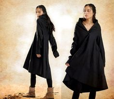 Black  Trench coat Long Coat jacket Linen Coat Women Designer Coat Swing Coat Winter Coat-
