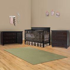 Graco Cribs 3 Piece Nursery Set - Lauren Convertible Crib, Portland Combo Dresser / Changer and Portland 4 Drawer Dresser in Espresso