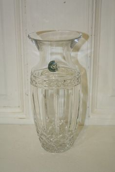 """Lenox crystal vase with sticker 8"""" tall, from Hungary. Measures approx: 8"""" x 3.5""""D x 2""""D base. Littler wear to sticker. Vase is MINT $25 Lenox Crystal, Crystal Vase, Vases For Sale, Hungary, Glass Vase, Mint, Sticker, Base, Crystals"""