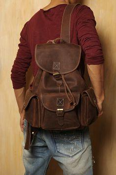 Leather backpack / Bag /  Briefcase / Backpack / Messenger / Laptop / Men's Bag in Brown--T038