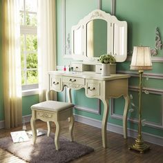 Tribesigns French Vintage Ivory White Vanity Dressing Table Set Makeup Desk with Stool & Mirror Bedroom - Description: Tribesigns Vanity Sets French Vintage Vanity Dressing Table Make up Desk,comes with 3 mirrors, Padded tool, and 5 storage drawe Shabby Chic Dresser, Trendy Home Decor, White Vanity, Paris Decor, Corner Vanity Table, Shabby Chic Homes, Bedroom Dressing Table, Bedroom Vanity Set, Aesthetic Bedroom