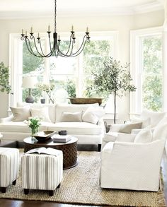 Farmhouse Living Room Decor Ideas - Farmhouse design has certain qualities, but it's not one size fits all. Check out these varied instances of farmhouse design living spaces. Coastal Living Rooms, My Living Room, Home And Living, Living Spaces, Simple Living, Modern Living, White Living Rooms, Kitchen Living, Living Room Pottery Barn