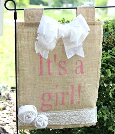 Its A Girl Burlap Yard Flag With Lace and Burlap Rosettes via Etsy great gift idea. Burlap Rosettes, Burlap Lace, Burlap Wreaths, Burlap Yard Flag, Burlap Signs, Yard Flags, Burlap Crafts, Everything Baby, Having A Baby