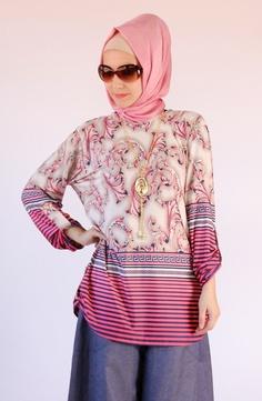 Baskılı tunik pembe / kolyeli 5207, karaca butik, tesettür, abiye, hijab