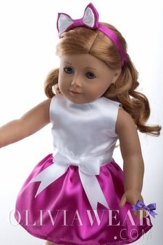 Cute white top and pink skirt dress fits American Girl dolls 18 inch clothes headband bow home made in USA
