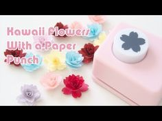 - Kawaii Flowers with a Paper Punch Origami And Kirigami, Origami Rose, Origami Flowers, Paper Flowers Diy, Handmade Flowers, Diy Paper, Paper Punch Art, Wrapping Paper Crafts, Quilling Designs