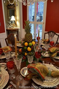 Colonial Decorating Pinterest   Christmas Tablescape with Colonial Williamsburg Apple Tree Centerpiece