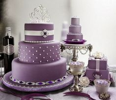 Purple Wedding Cakes Photos 2014  I really like this one, minus the jewels