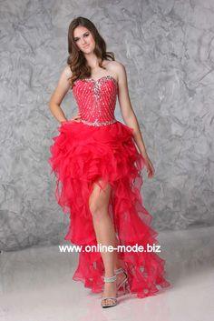Vokuhila Kleid Abendkleid Vorne Kurz Hinten Lang in Rot