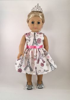 "18"" Doll Clothes American Made Doll Dress fits 18"" Girl Doll - Paris Sparkle Eiffel Tower Ooh La La by JillRodgersDesigns on Etsy https://www.etsy.com/listing/254866758/18-doll-clothes-american-made-doll-dress"
