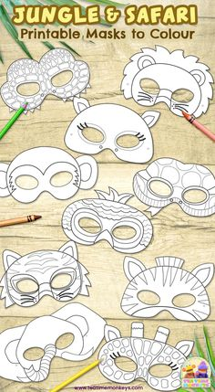 Jungle Theme Activities, Jungle Crafts, Craft Activities, Preschool Crafts, Animal Mask Templates, Printable Animal Masks, Animal Masks For Kids, Mask For Kids, Diy Advent Calendar