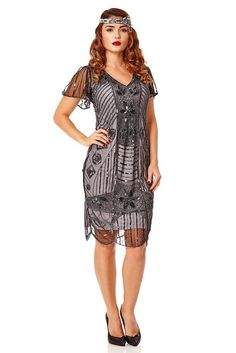 Gatsbylady Daisy 1920's Vintage Inspired Flapper Dress in Black Silver (18)