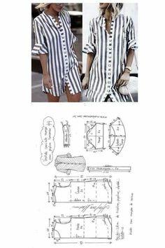 Vestido camisa com manga peplum Fashion Sewing, Diy Fashion, Ideias Fashion, Fashion Outfits, Diy Clothing, Sewing Clothes, Dress Sewing Patterns, Clothing Patterns, Costura Fashion