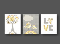 Nursery art print, baby nursery decor, nursery print, Kids art, yellow, gray children wall art, bird, love, Tree, Set of three 8x10 prints. $46.00, via Etsy.