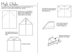 "Paper airplane instructions: ""High Glider""   http://www.ncgraphicarts.com/ryan/other/highglins.gif"