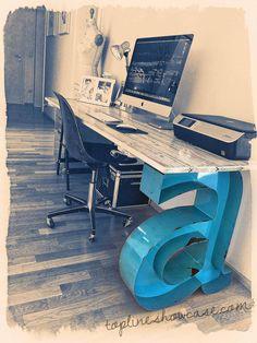 Marquee Letter Desk Leg-Customizable Vintage by TLNFunctionalArt. Contact us for custom letters. julie@toplinenashville.com