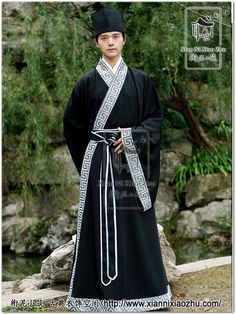 A black stylish Zhiju with well-made patterns on the collar and sleeves.