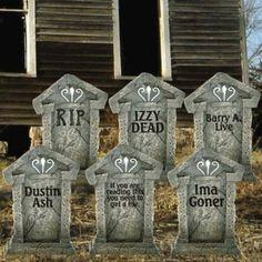 décoration Halloween pas chère et macabre: pierres tombales en carton