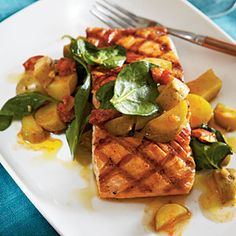 Grilled Salmon with Chorizo and Fingerlings | MyRecipes.com