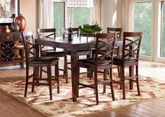 Riverdale Cherry 5 Pc Square Counter Height Dining Room Find Affordable Sets For Your Home That Will Complement The Rest Of Furniture