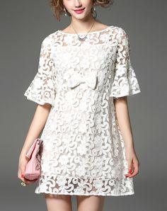 #AdoreWe MOOERKERR Boat Neck Ruffle Sleeve Sheer Lace Mini Dress - AdoreWe.com