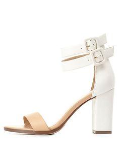 9e73af8e62ee Color Block Chunky Heel Sandals  charlotterusse  charlottelook