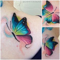 Up close butterfly views from today' Watercolor Butterfly Tattoo, Butterfly Tattoo Cover Up, Butterfly Tattoo Meaning, Butterfly Tattoo Designs, Cool Wrist Tattoos, Baby Tattoos, Body Art Tattoos, Stylist Tattoos, Infinity Tattoos