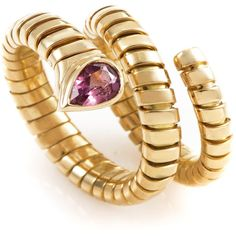 preowned bulgari tubogas 18k yellow gold tourmaline ring liked on