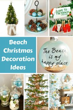 Christmas ornament crafts for kids beach christmas decorations & ideas inspired by sea sand & shells Beach Christmas Ornaments, Coastal Christmas Decor, Nautical Christmas, Christmas Lanterns, Christmas Jars, Silver Christmas, Outdoor Christmas Decorations, Christmas Ideas, Seashell Ornaments