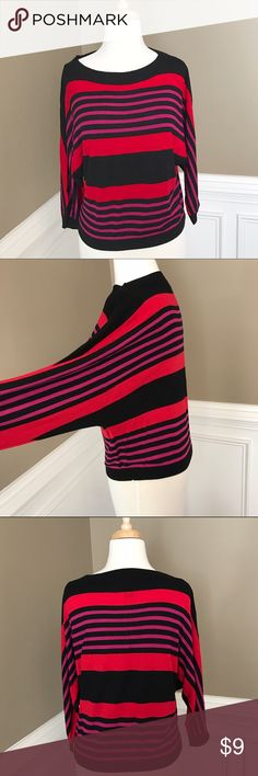 Striped Dolman top From INC, pretty stripes of red, black and purple. Baggy dolman sleeves with black knit cuffs. Knit detail on neckline and hem. Like new condition. Cute with black leggings! Smoke and free home. INC International Concepts Tops Tees - Long Sleeve