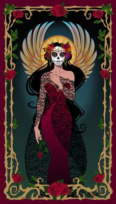 La Rosa by Cristina McAllister - La Rosa Digital Art - La Rosa Fine Art Prints and Posters for Sale Los Muertos Tattoo, Catrina Tattoo, Arte Fashion, Sugar Skull Art, Sugar Skulls, All Souls Day, Day Of The Dead Skull, Book Of Life, Voodoo