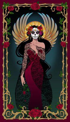 ❁☠❀ Dia de Los Muertos  ❀☠❁ Dia De Los Muertos Digital Art - La Rosa by Cristina McAllister