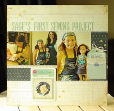 Challenge Create a layout without using card stock. Sage One, First Sewing Projects, 2nd Anniversary, Card Stock, Challenges, Layout, Ink, Baseball Cards, Create