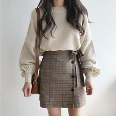 Sweater Women 2018 Autumn Winter Korean Style Vintage Lantern Sleeve Knitted Pullover Ladies Tops Knitwear sueter mujer 2217 - New sites Spring Outfit Women, Fall Fashion Outfits, Fall Fashion Trends, Winter Outfits, Winter Fashion, Summer Outfits, Cute Outfits, Winter Clothes, Plad Outfits