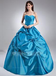 Ball-Gown Sweetheart Floor-Length Taffeta Quinceanera Dress With Ruffle Beading Flower(s) (021015948) - JJsHouse
