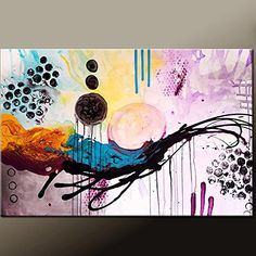 "Abstract Canvas Art Painting 36x24 Contemporary Original by Destiny Womack - dWo - Beautiful Chaos. Thank you for your interest in my art. This is an original abstract contemporary canvas art painting by world collected artist Destiny Womack aka dWo Painting is READY TO SHIP and is the exact painting you will receive. It will ship within 1-2 days of your order. DETAILS: Title:::::::::::::: Beautiful Chaos Size:: ::::::::::: 36""x24"" Medium::::::::: Acrylics Canvas:::::::::: 3/4"" Gallery..."
