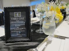 Black frame to display menu on long table at The Surf Club Mooloolaba. Styled by @Beedazzled Events