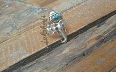 Ganesha prata com turquesa, anel de prata, silver ring Ganesh1