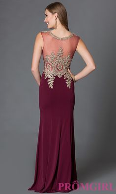 Image of sleeveless long dress with jeweled lace applique and sheer bodice Front Image