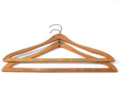 Vintage Wood Advertising Hangers • Dry Cleaners and Laundry • Green Print by HazeyJaneVintage on Etsy