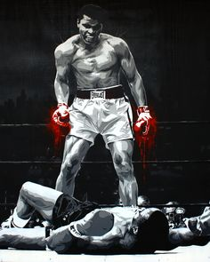 "Cassius Clay | 48"" x 60"", 7 layer stencil of Boxer then know? 