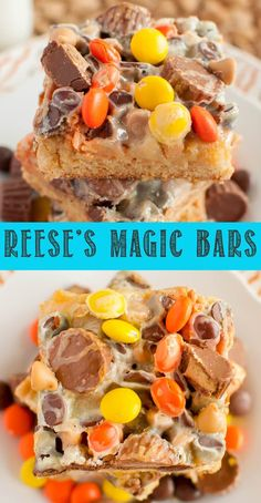 Reese's Magic Blondie Bars are the ultimate dessert for peanut butter lovers! - Reese's Magic Blondie Bars are the ultimate dessert for peanut butter lovers! A chewy blondie wit - Homemade Chocolate, Chocolate Recipes, Chocolate Butter, Homemade Snickers, Kid Desserts, Dessert Recipes, Blondie Bar, Blondie Dessert, Easy Dessert Bars