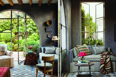 How flippin' dreamy is antiques dealer and designer Richard Shapiro's Mediterranean villa? Sitting high above Broad Beach in Malibu, antiqued sandstone walls and floors contrast perfectly against immense steel windows, open spaces, and an impressive black volcanic stone kitchen. And can we discuss how spectacular the smooth steel stairway balustrade is?!