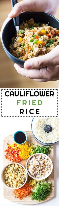 This Cauliflower Fried Rice is a low-carb and high-protein dinner recipe full of vegetables and Asian-Peruvian flavor. 30 minutes from start to digging in. #cauliflowerrice #cauliflower #cauliflowerrecipes #lowcarbdinner via @greenhealthycoo