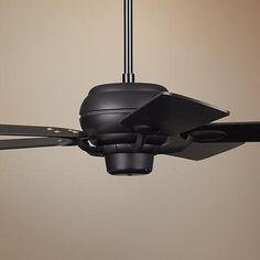 "52"" Casa Optima Matte Black Matching Blades Ceiling Fan"