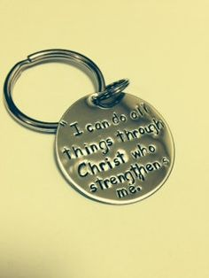 Hand stamped Keychain I can do all things by HandandHeartJewelry, $15.00