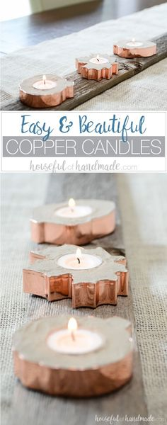 I love the concrete and copper together! Turn copper cookie cutters into beautiful copper candle holders with this easy DIY. Get the tutorial on Housefulofhandmade.com