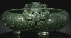 A SPINACH-GREEN JADE 'MARRIAGE' BOWL<br>QING DYNASTY, 18TH CENTURY   lot   Sotheby's