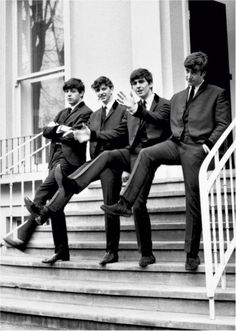 Photos taken on the front steps of the Abbey Road studios.