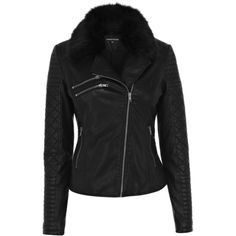 Warehouse Quilted Faux Fur Collar Jacket ($35) ❤ liked on Polyvore featuring outerwear, jackets, black, quilted biker jacket, faux fur collar jacket, asymmetrical zipper jacket, quilted jacket and biker style jacket